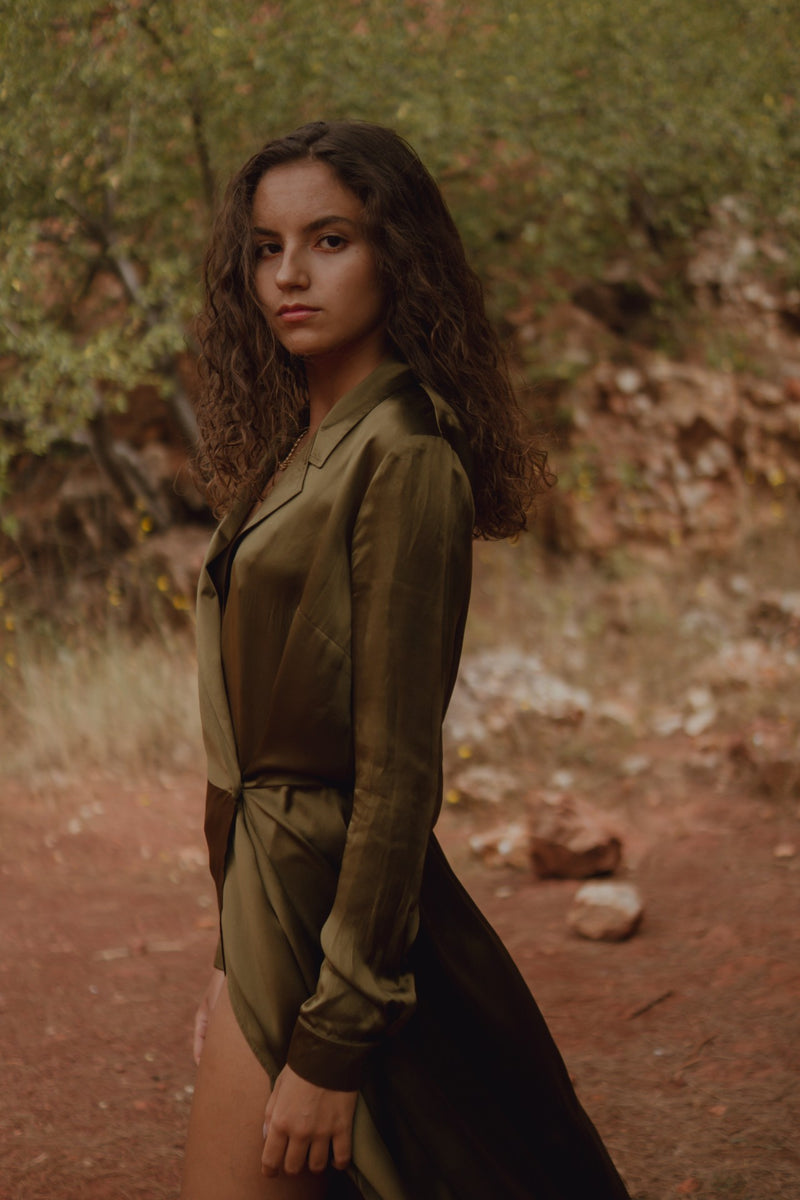 Olive satin silk maxi shirt dress