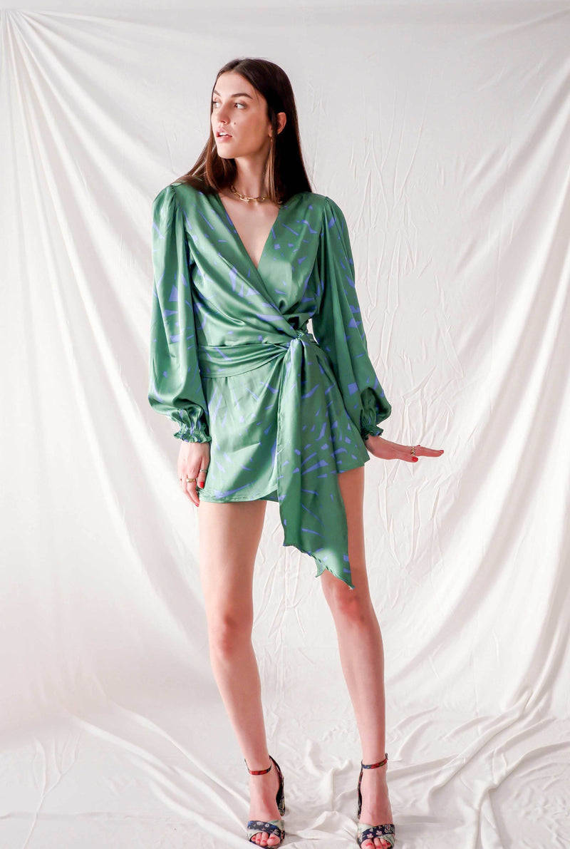 Green graphic print satin silk short playsuit with side bow and bell sleeves