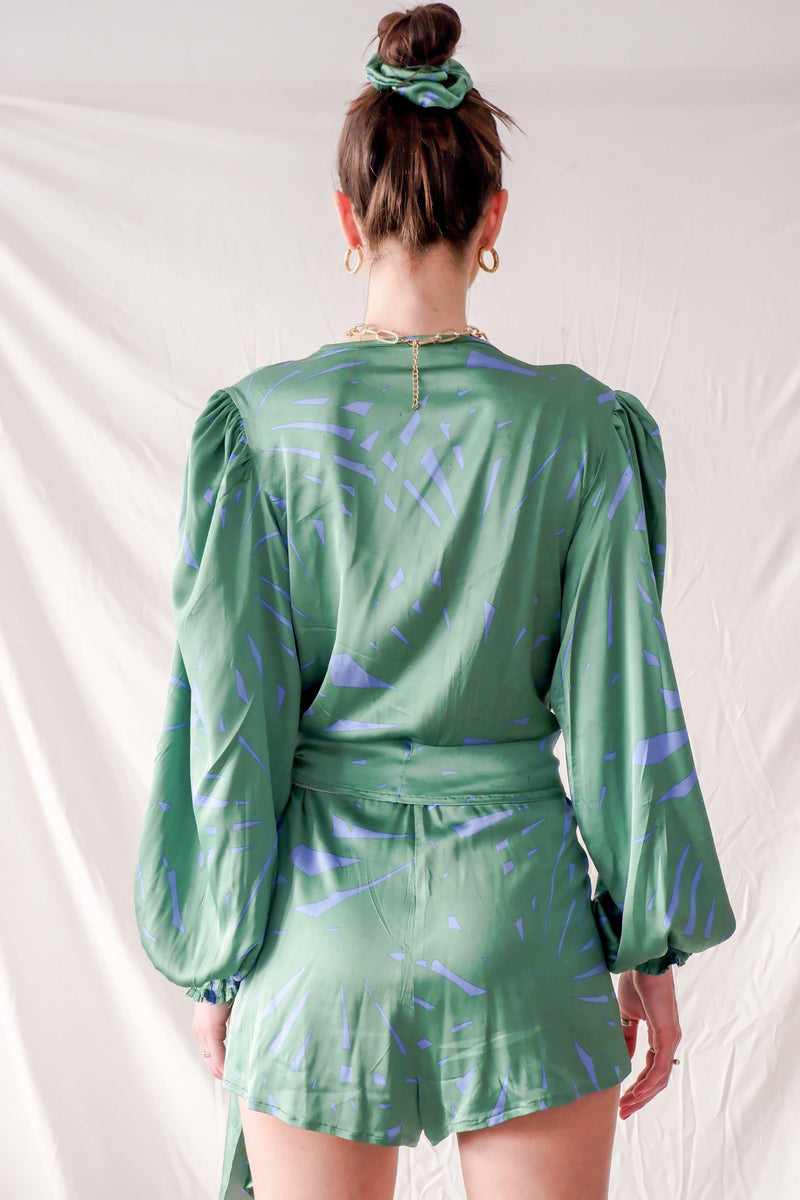 Green graphic print satin silk playsuit with side bow and bell sleeves