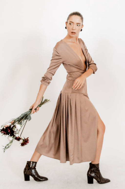 Pleated plunging neckline brown midi dress with side slit and long sleeves- BastetNoir