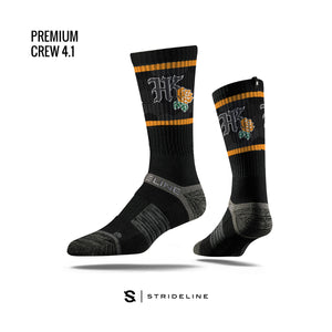 HKP x Strideline - AOGS - High Crew (striped) - Black