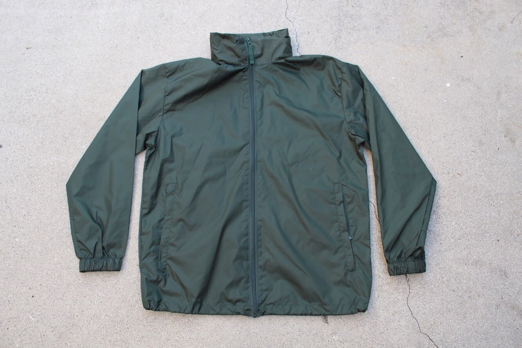 HK Forest Green Windbreaker with Packable Hood - HARDKOUR PERFORMANCE