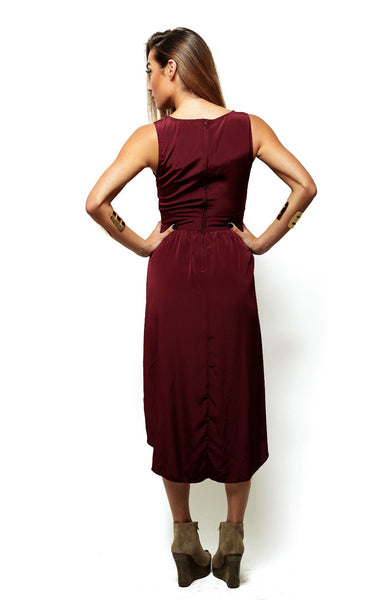 Silky Cutout Tail Dress - Burgundy