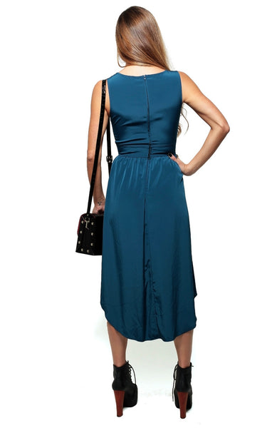 Silky Cutout Tail Dress - Navy
