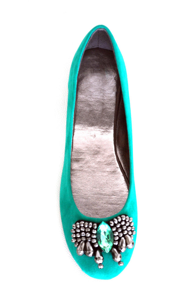 Jeweled Ballet Flats -Sea Green