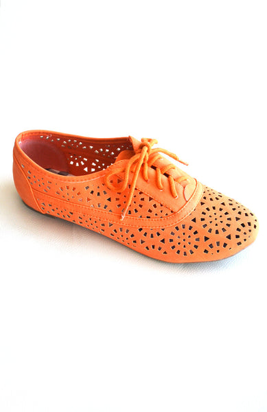 Laser Cut Oxfords- Orange