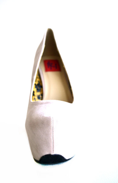 Anne Platform High Heels Pumps- Ivory