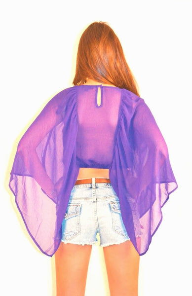 Butterfly Crop Top - Purple