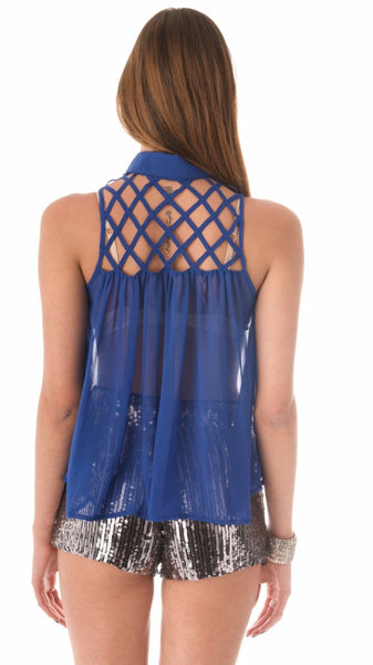 Caged Chiffon Top - Blue