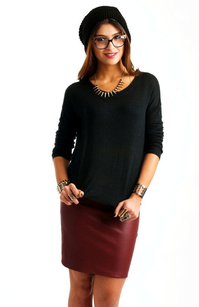 Black Scoop Knit