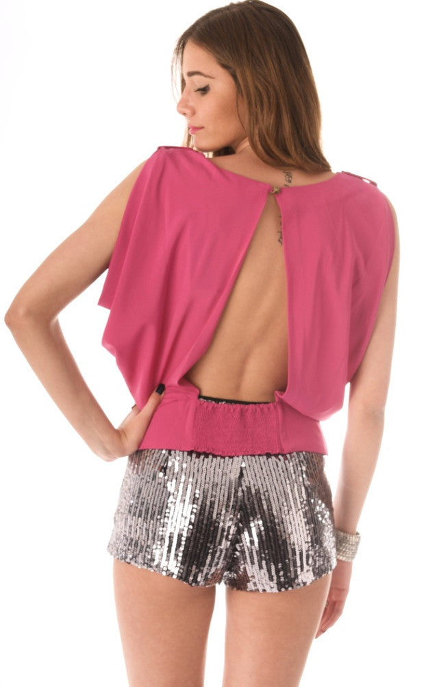 Heidi open back blouse - Magenta