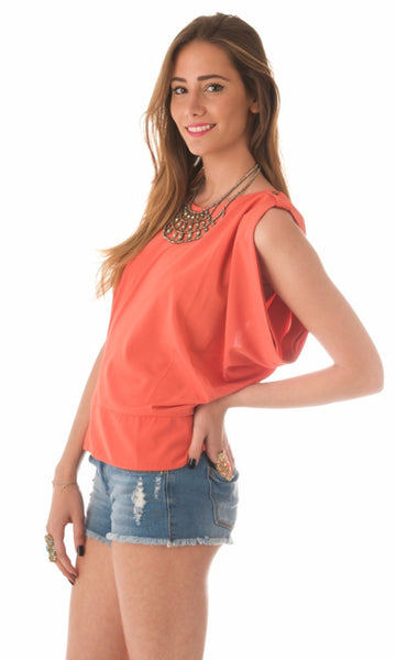 Heidi open back blouse - Orange