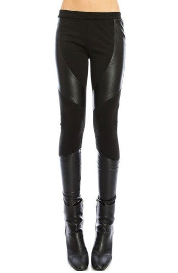 Hybrid Moto Black Leather Insert Leggings