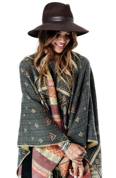 Bohemian Tribes Poncho - Olive