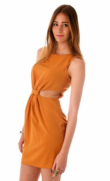 Polly Twist Dress - Mustard