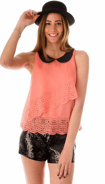 Peterpan Chiffon Top - Salmon