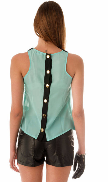 Peterpan Chiffon Top - Mint