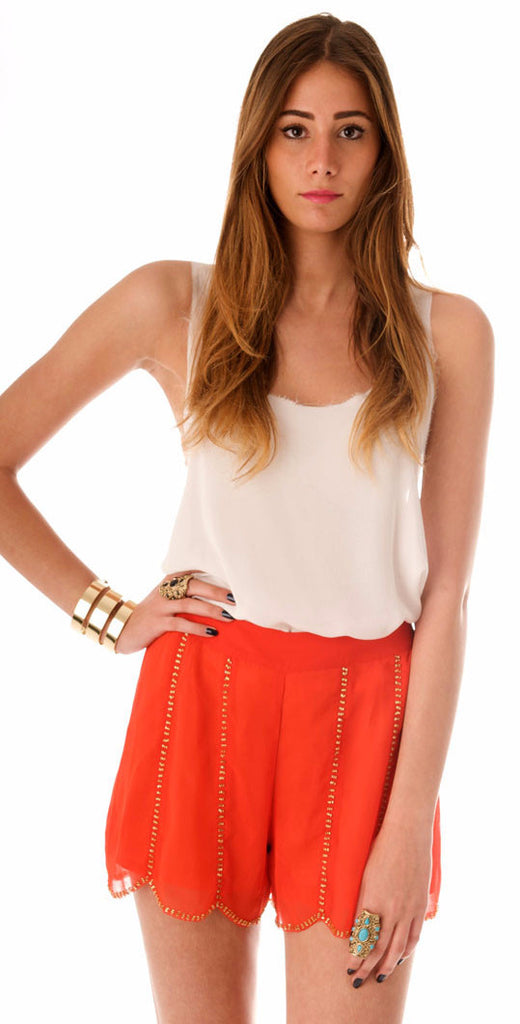 Bead Scalloped Shorts - Orange