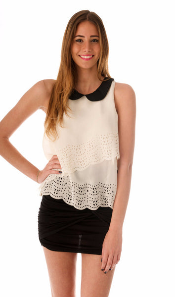 Peterpan Chiffon Top - Ivory
