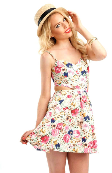 Floral Garden Cut-Out Dress