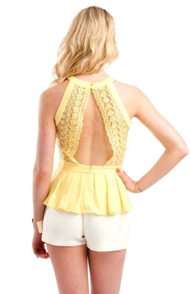 Threaded Floral Yellow Top