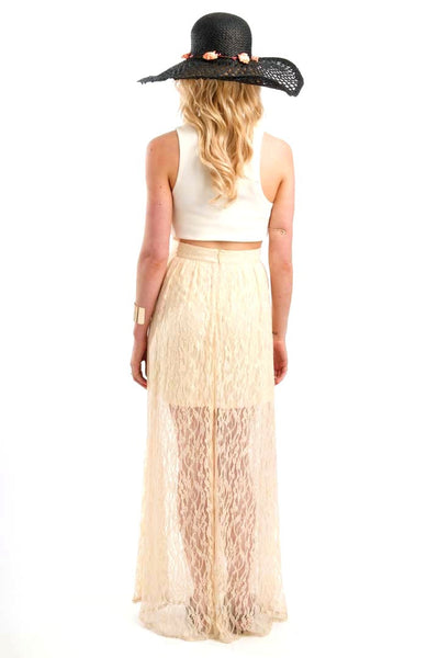 Lacy Summer Beige Maxi Skirt