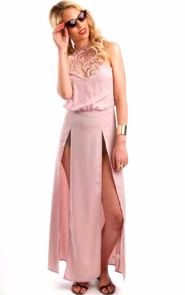 Coachella Pink  Maxi Slit Dress