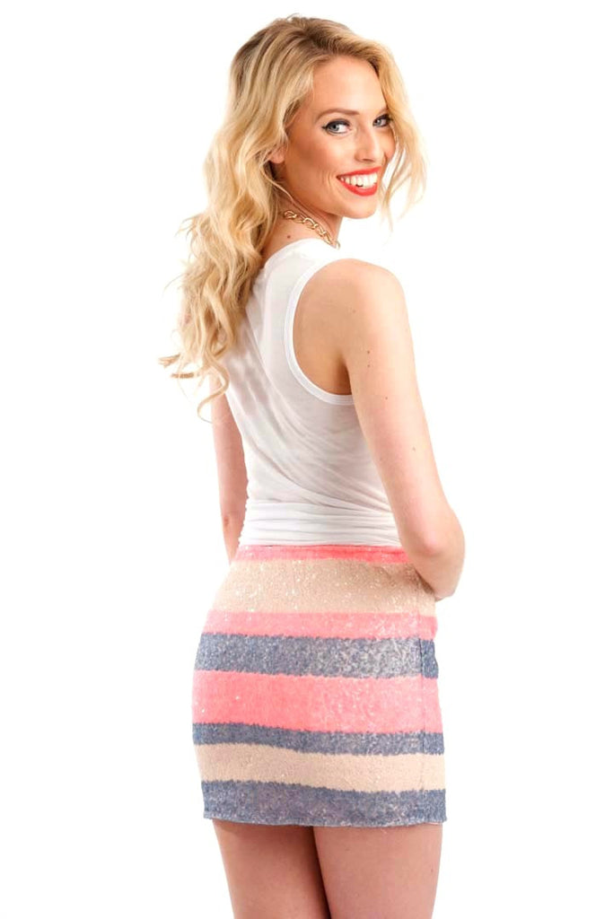Sweet Stripes Sequin Skirt