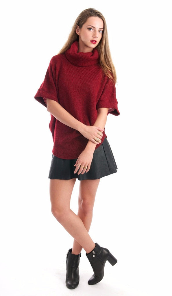 Marly Burgundy Turtleneck Top