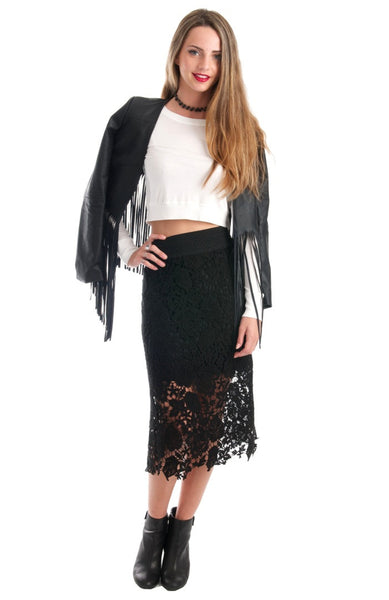 Grace The Lace Midi Black Pencil Skirt