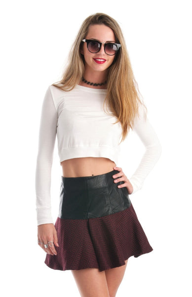 All About Basic Long Sleeve Crop Top White