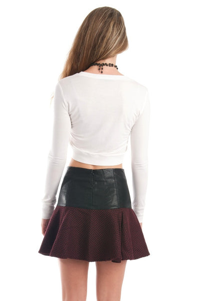 Chiara Chevron Tweed and Leather Skater Skirt