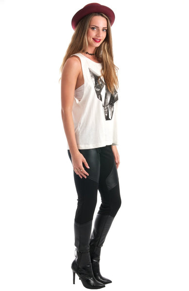 Get Foxy White Muscle Graphic Tee