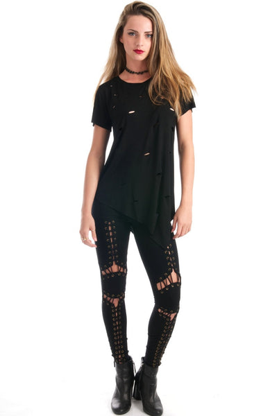 Lace Up Black Leggings