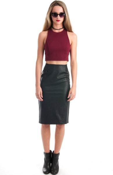 Night Vulture Black Pencil Leather Skirt