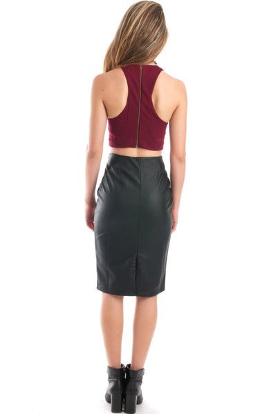 Blind Sided Burgundy Crop Top