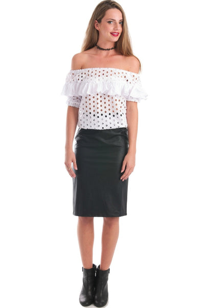 Layla White Eyelet Off Shoulder Top