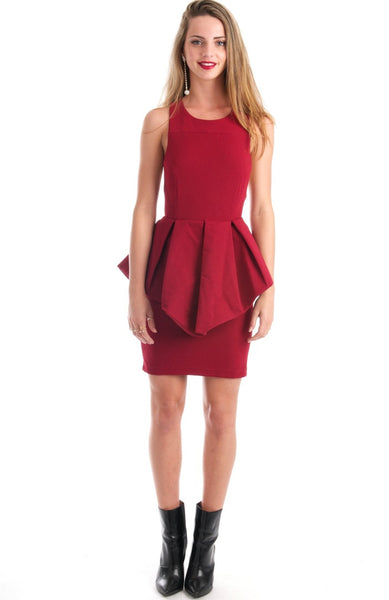 Starlight Peplum Open Back Burgundy Dress