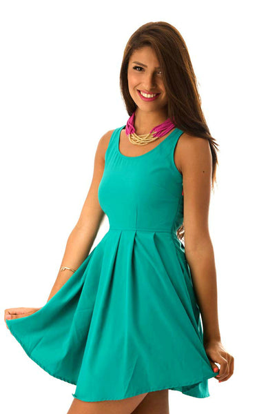Sliced Back Dress - Teal