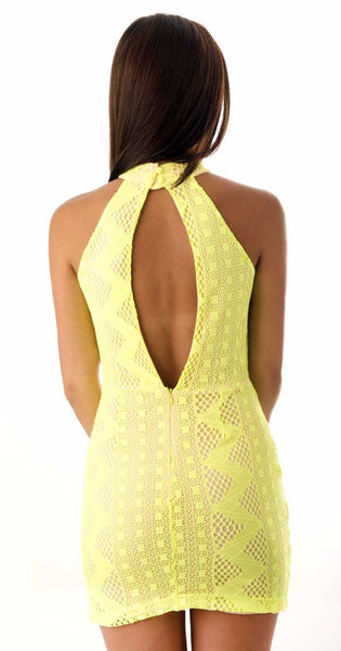 Groovy Lace Dress -Yellow