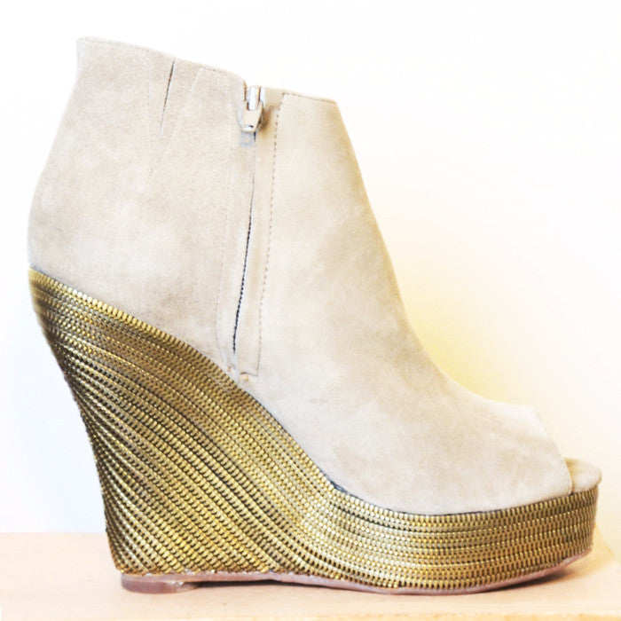 Tick Wedge Booties - Taupe
