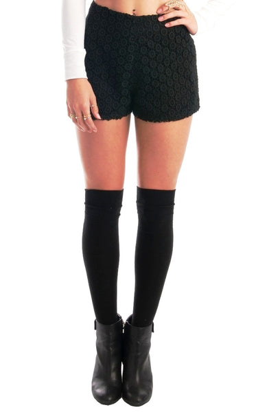 Daisy Black Crochet Shorts