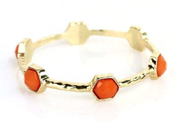 Gold Hexagon Bracelet - Coral