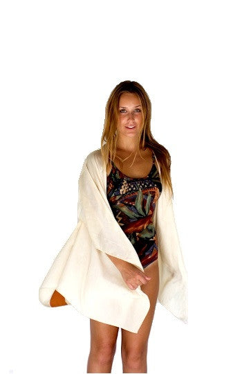 Ivory Silk Kimono with Orange Deer Back