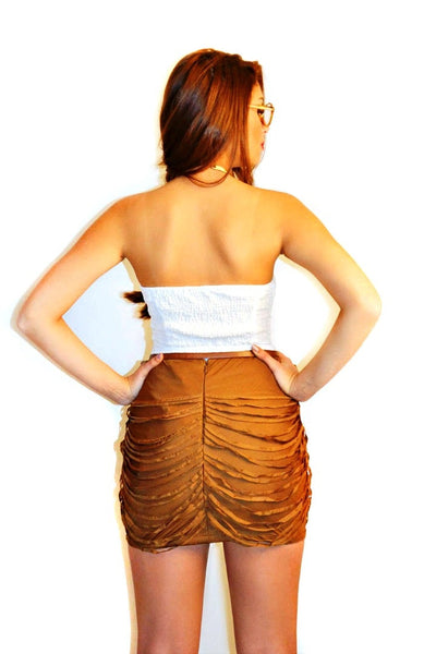 Drapin Mini Skirt-Mocha
