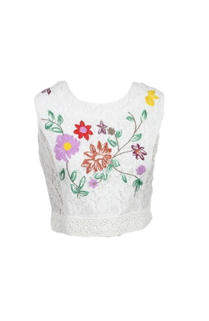 Floral Embroidered Top - White
