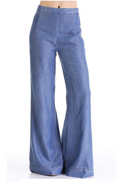 Blue Chambray Flare Pants