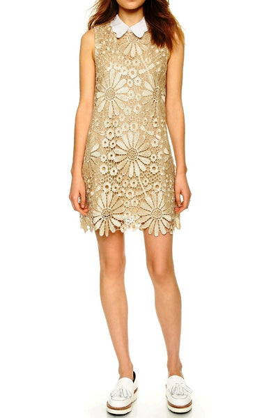 Golden Daisy Lace Shift Dress