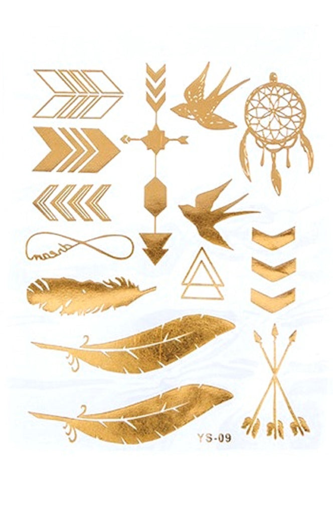 Gold Tattoo Boho Feather