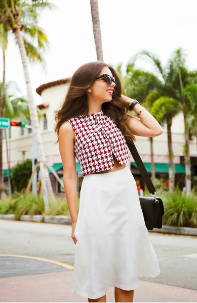 Little Red Tweed Houndstooth Crop Top